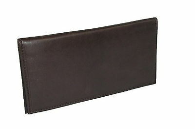 Basic Checkbook Cover Brown Leather Men's Marshal Genuine Credit Card Slots New