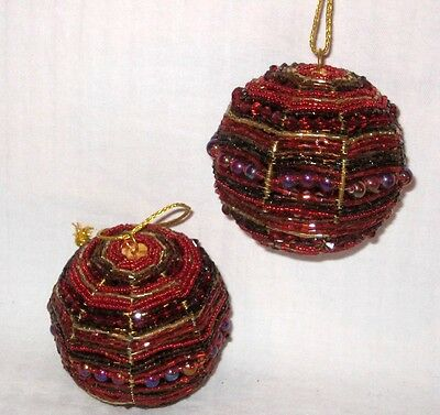 2 Red/gold Beaded Christmas Ornaments 3""