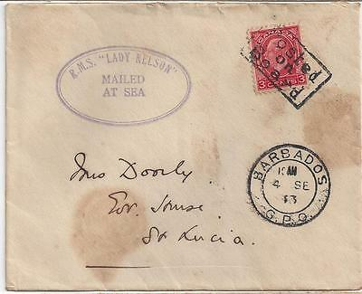 """1933 Leeward Islands Barbados St. Lucia Paquebot Cover """"Mailed at Sea"""""""