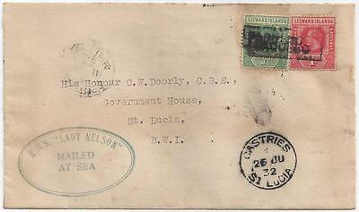 """1932 Leeward Antigua St. Lucia Paquebot Cover """"Mailed at Sea"""" RMS Lady Nelson"""