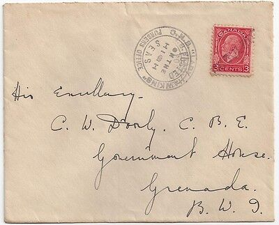 """1934 Leeward Canada to Grenada Paquebot Cover """"Posted on the High Seas"""""""