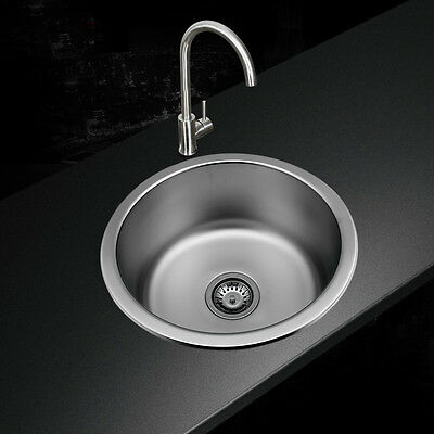 Stainless Steel Round Single Bowl Laundry Kitchen Sink + Plumbing Kit & Drainer