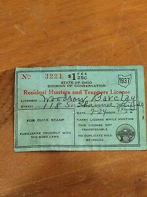 Resident Hunters & Trappers 1937 State of Ohio Paper License