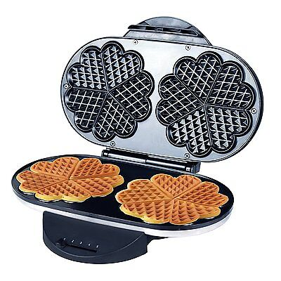 ZZ WF330 10 in 1 Heart Waffle Maker with Non-Stick Plate 1200W, Black/Silver