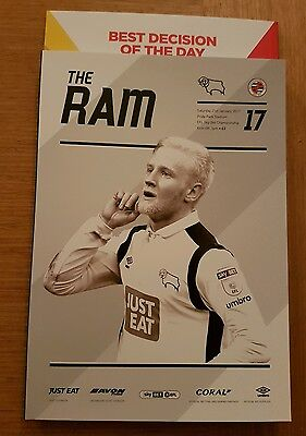 **DERBY COUNTY v READING 2016/17~MINT & UNREAD IN HAND HAND NOW!!~FREE POSTAGE**