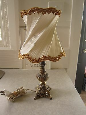 Beautiful Vintage Retro Art Deco Brass Table Lamp With Unique Shade