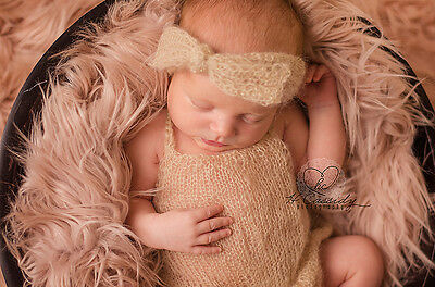 Newborn Tan Knitted Mohair Romper and Headband Set Photography Photo Prop Baby