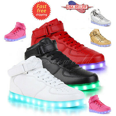 Unisex LED Light High Top Shoes Lace Up Luminous Casual Men Women Sportswear