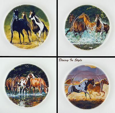 Complete Set of 4 Plates, MINT! Cypress Home, Horses, Chris Cummings Paintings