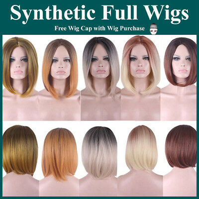 Colour Blend Synthetic Hair wig Capless Short Straight Mix Wigs Dip Dye Two Tone