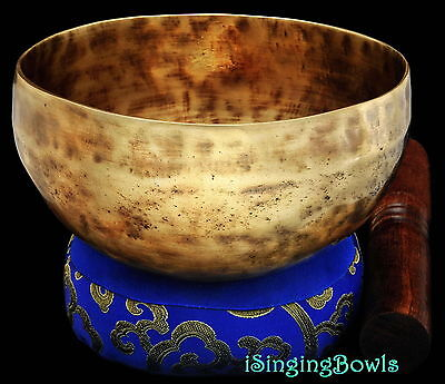"New Tibetan Singing Bowl: Cup 5 1/2"", Contemporary, E+10 & A#933. VIDEO"