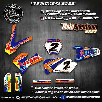 KTM SX SXF 125 250 450 2005 2006  graphics kit decals stickers