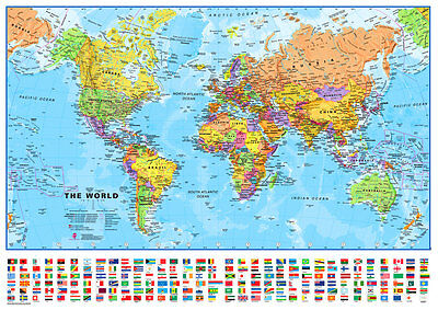 "Maps International *THE WORLD* Political/Physical Map w/Flags Laminated 39""x53"""