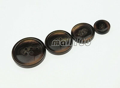 12pcs Resin Brown Round 4 Holes Buttons for Coat Suit Sewing 15 21 25 30mm