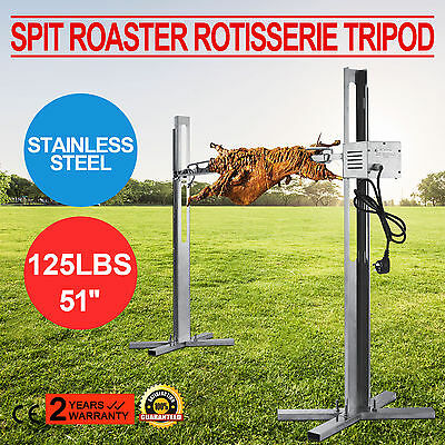 Barbeque Rotisserie Grill 125Lbs Spit Roaster Tripod Electric Stainless New
