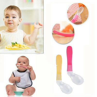 Baby Soft Tip Silicone Easy First Feeding Weaning Spoons Heat Sensitive Spoon