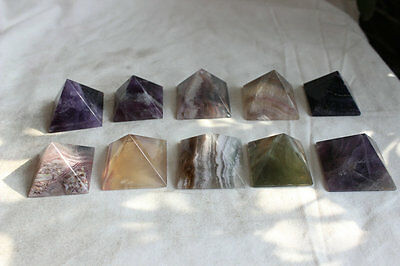 10 NATURAL FLUORITE CRYSTAL PYRAMID POLISHED HEALING Wholesales Price