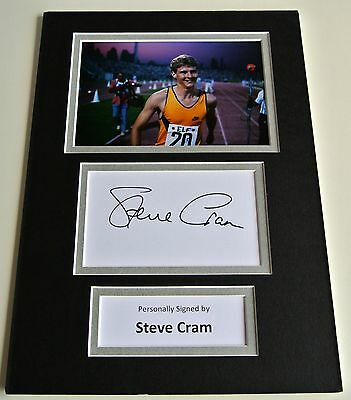 Steve Cram Signed Autograph A4 photo mount display Olympic Athletics & COA
