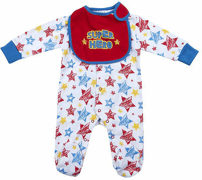 Babytown Baby Boys Superhero Comic Newborn Babygrow Sleepsuit Bib Cape Gift Set