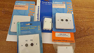 """TV-Antenna Coax Sockets by Antiference. Assorted Styles Bulk Lot """"Brand New"""""""