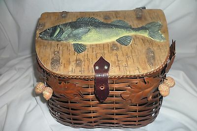Fishing creel COPPER weave basket, raised fish on lid,COPPER LEAVE leather strap