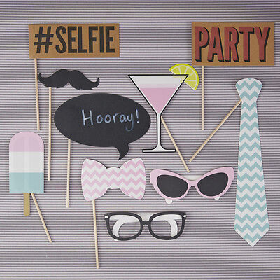 10 Pastel Chevron Party Photo Booth Props