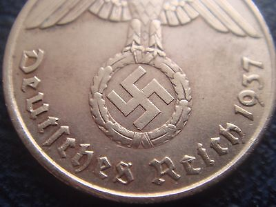 Rare Old WWII Antique Germany 1937 A 3rd Reich SS Nazi Eagle 2 pfenning  Coin