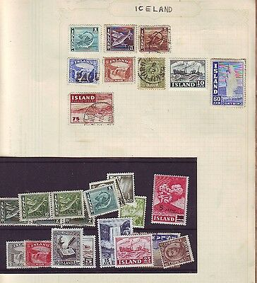 Early  Iceland Defins Overprints selection MH & Used 35 Aur Paquebot etc +++