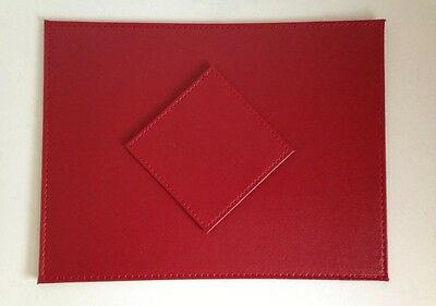 Red Stitch Faux Leather Table Mats Placemats & Coaster Set 4, 6, 8,12 Settings