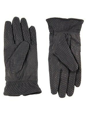 New Women Ladies 100% Soft Leather Black Pattern Gloves vintage Size S/M