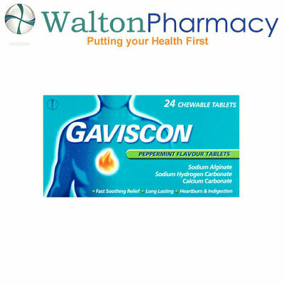 Gaviscon Chewable Peppermint Tablets  fast relief indigestion 24 chew Tablets