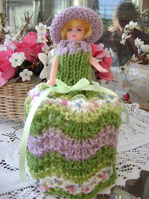 Hand Knitted Apple Blossom Doll Toilet Roll Cover