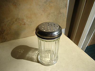 "Vintage Glass Shaker Jar with Metal Lid 5"" Tall"