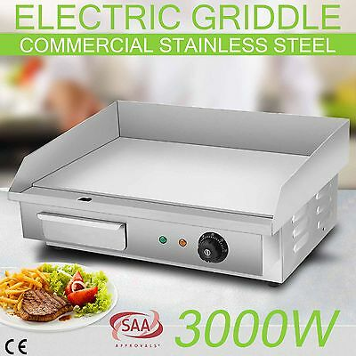 Electric Griddle Grill Thermostat Commercial Stainless Steel Hot Plate BBQ 3000W