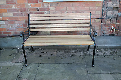 Reclaimed Cast Iron Bench with Wooden Seat and Arms Insert