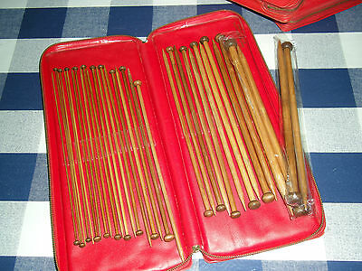 Vintage Aero Knitting Needle Case In Red With 1 Set Of Knitting Needles 25Cm
