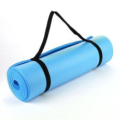 Light Blue 15mm Thick Exercise Fitness Gym Yoga Mat 190cm x 60cm