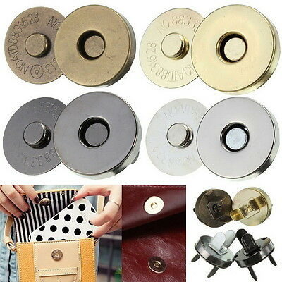 18mm Magnetic Clasp Purse Snaps Closures Round Sewing Button Bag Press Studs J*