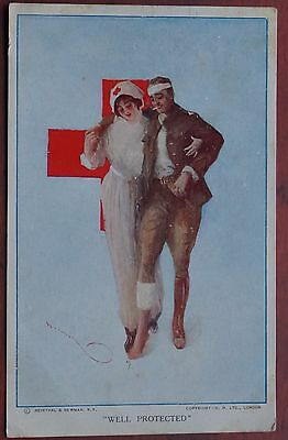 "First World War  ""Well Protected"" Red Cross Card with Censor & Field P.O. stamps"