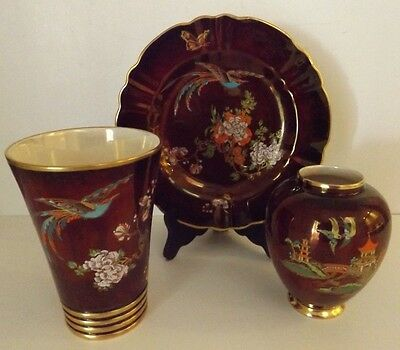 Set of Rouge Royal Hand Painted Carlton Ware w/ Original Paper Labels