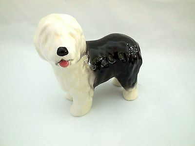 Old English Sheepdog Dog Porcelain Figurine Handmade Black White 4x3