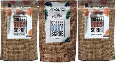3 x 150g Anovia Coffee Body Scrub Coconut or Chocolate Orange (Made in UK!)