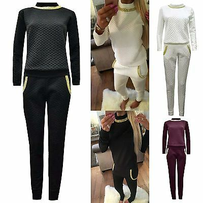 Womens Quilted Tracksuit Loungewear Sweatshirt Ladies Joggers Diamond Suit Set