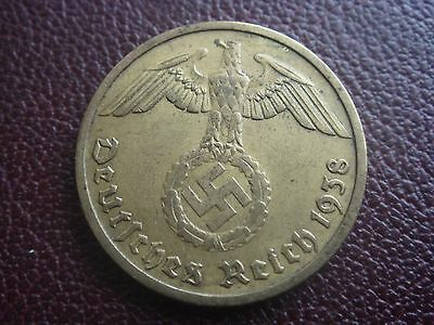 Rare Old WWII Antique Germany 1938 D 3rd Reich SS Nazi Eagle 10 pfenning  Coin