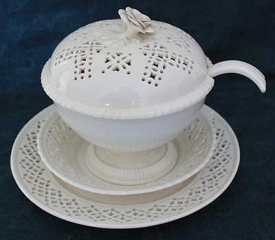 Leedsware Classical Creamware Pierced Small Lidded Tureen With Ladle & Stands