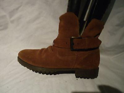 Womens Unknown Tan Suede Pull On Fur Lined Boots Uk 5/ Eu 38