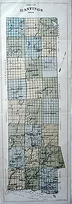 Hastings County Ontario Canada 1881 rare orig map Ont Agricultural Commission