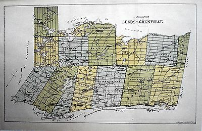 Leeds Grenville County Ontario Canada Rare 1881 orig map Agricultural Commission