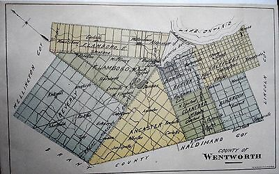 Wentworth County Ontario Canada 1881 rare orig map Ont Agricultural Commission