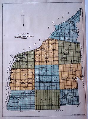 Lambton County Ontario Canada Rare 1881 orig map Ont Agricultural Commission